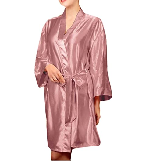 Sankt Womens Summer Pure Color Night Gown Plus Size Silk Wrap