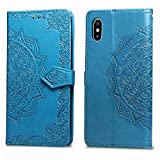 Leather Wallet Case for iPhone Xr,[Stand Function] Ostop Embossed Mandala Flower PU Protective Shell Magnetic Flip Folio Cover with Card Slots,Cash Pocket,Wristlet-Blue