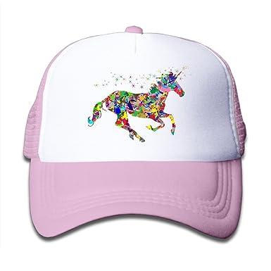 Modern Magical Unicorn Girls Cap Summer Hat Lightweight Mesh Flexfit Pink