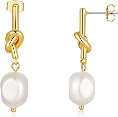 Gold and Faux Pearl Dangle Earrings