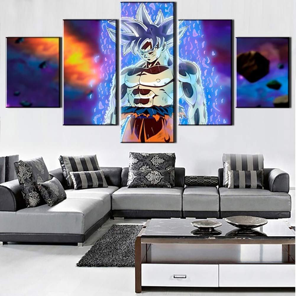 A 20 * 30 * 220 * 40 * 220 * 50 * 1 DYR Impresiones en Las Pinturas de la Lona Arte de la Pared en casa HD Super Saiyan Posters 5 Piezas Dragon Ball Fotos Decoraci/ón de la Sala de Estar sin Marco