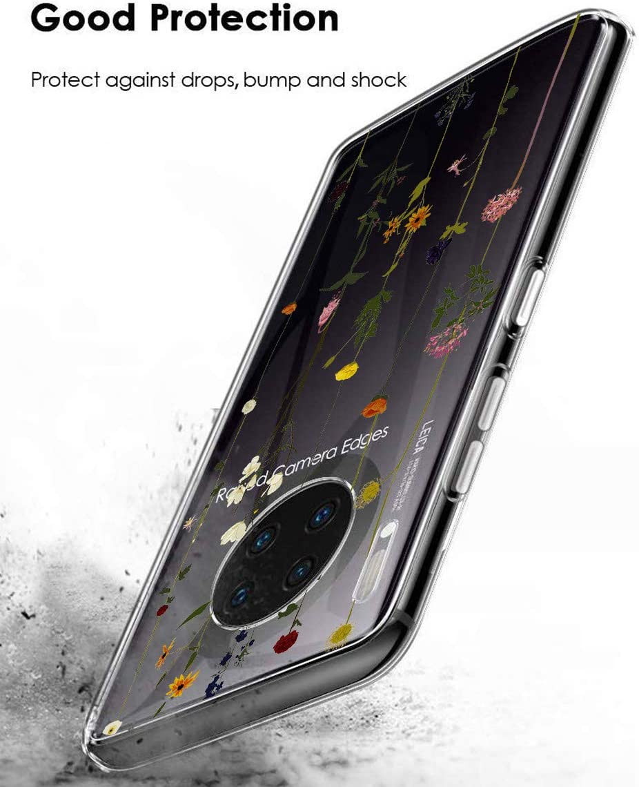 Oihxse Compatible for Motorola G7 Power Transparent Case Moto G7 Power Cover Shockproof Protective Case with Soft Silicone TPU Frame Protective Flower Design Bumper Case