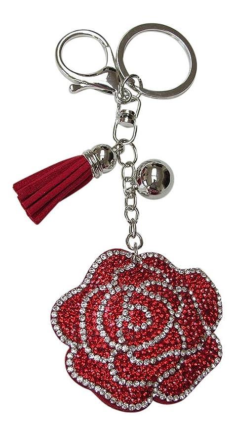 Joya bolsa, llavero flor rosa strass cristal rojo y blanco ...