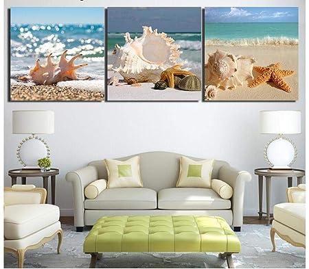 Beach Sea Wave 3 Piezas Impresión En Lienzo Arte De La Pared ...