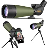 Gosky 20-60x80 Spotting Scope with Tripod, Carrying Bag and Scope Phone Adapter - BAK4 45 Degree Angled Eyepiece…