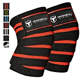 Knee Wraps (1 Pair) - 80' Elastic Knee and Elbow Support & Compression - For Weightlifting, Powerlifting, Fitness, CrossFit WODs & Gym Workout - Knee Straps for Squats (Black/Red)