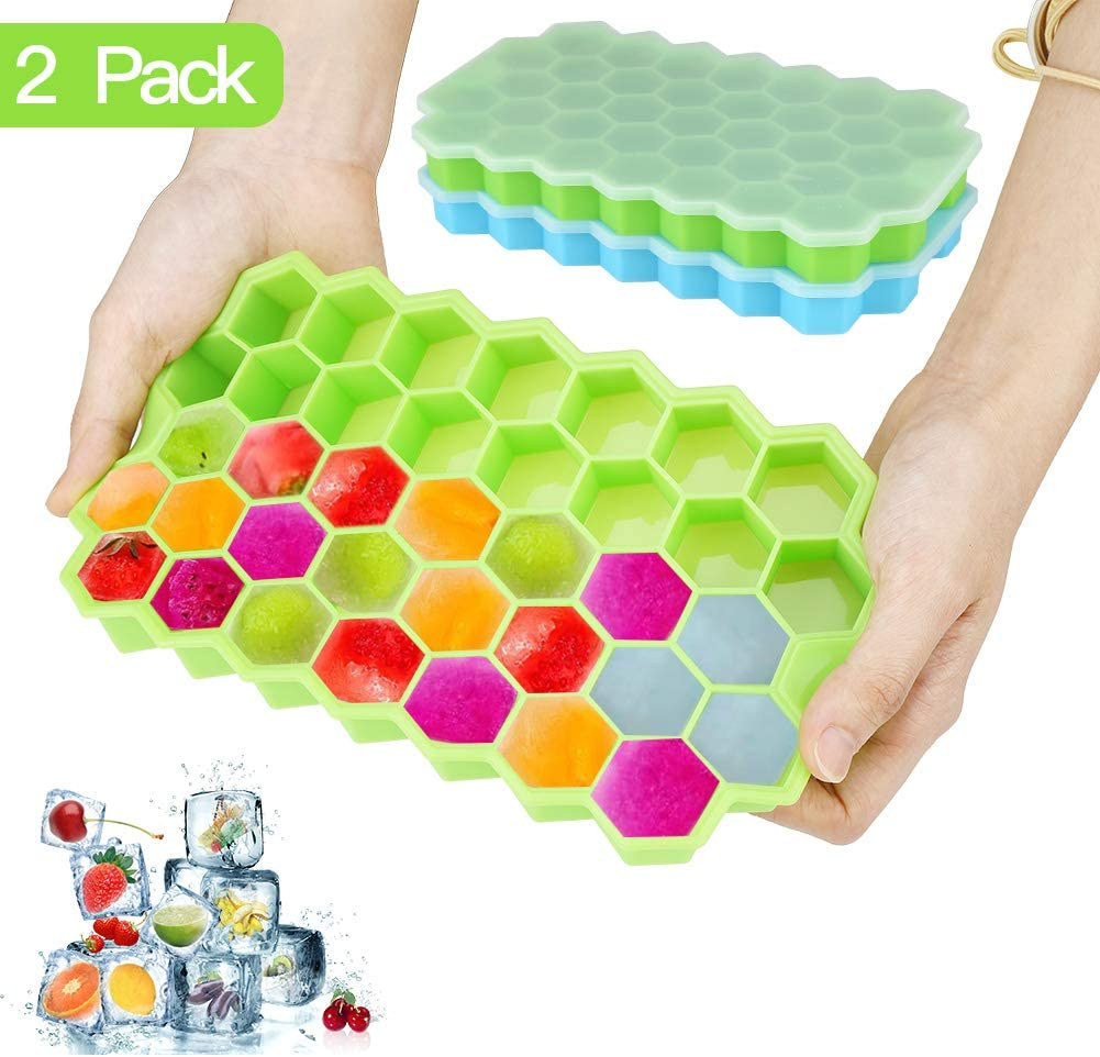 Adeeing Ice Cube Trays with Lids 2 Pack Silicone Ice Cube Molds BPA Free Easy Release Honeycomb Shape Ice Cube Making Mold for Whiskey Cocktails Chilled Drinks Chocolate Baby Food