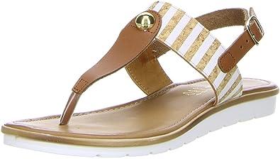 Damen Zehentrenner Sandaletten Braun, Größe:37, Farbe:Braun Vista