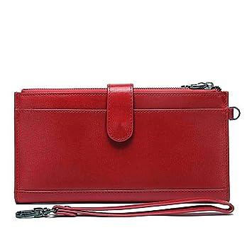 Xiaoqin Monedero de Cremallera de Cuero Real de señora Long Clutch Wallet con Bolso de Mano