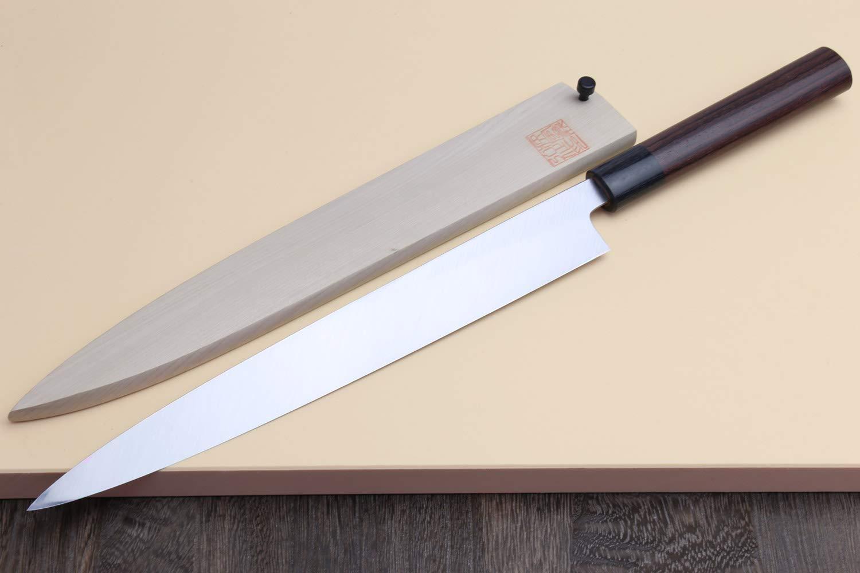 Yoshihiro Shiroko High Carbon Steel Kasumi Yanagi Rosewood Handle Sushi Sashimi Chef Knife (10.5'' (270mm)) by Yoshihiro (Image #3)