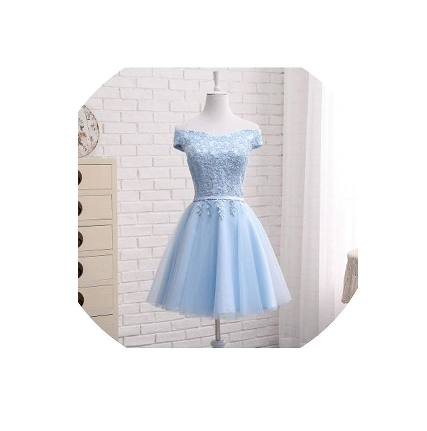 bluee short Bridesmaid Dresses FloorLength Boat Neck Cap Sleeve Applique Embroidery Dress