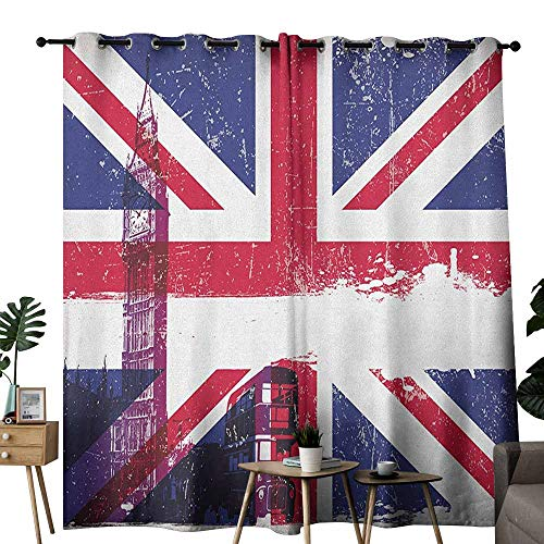 Light Two Brass Historical - duommhome Union Jack Novel Curtains Grungy Aged UK Flag Big Ben Double Decker Country Culture Historical Landmark 70%-80% Light Shading, 2 Panels,W84 x L108 Multicolor