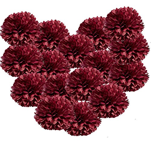 X-Sunshine Party Pom Poms Tissue Paper Flower 16pcs 10 inch Decorative Hanging Flower Balls Craft DIY Decoration for Home Wedding, Baby Shower, Birthday, Party Decorations (10inch-16pcs, Burgundy)