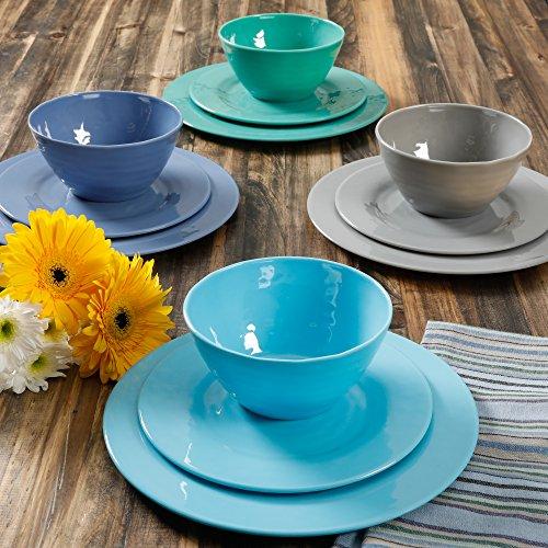 Gibson Home Brela 12-Piece Melamine Dinnerware Set - Aqua