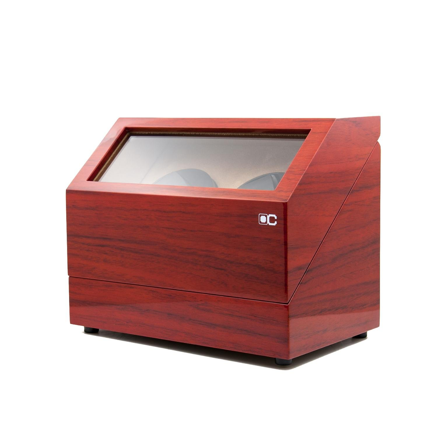 KAIHE-BOX Classic Watch Winders for 2 Watches for automatic Watch Winder Rotator Case Cover Storage(2 color,ww-02132) , Red by KAIHE-BOX (Image #5)