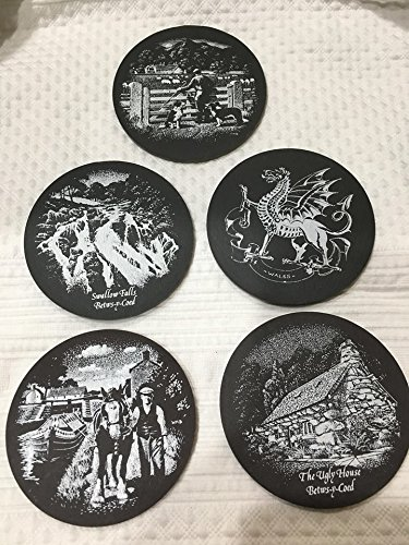 Welsh Slate - Vintage Set of Five Welsh Round Slate Drink Coasters (3.25
