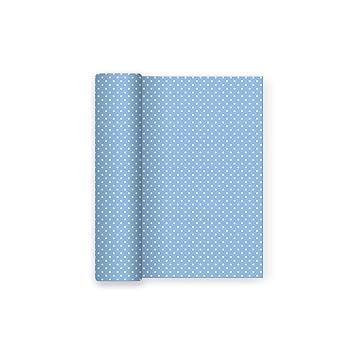 Mantel de papel para fiesta con decorado de Lunares Azul Baby - Ideal para fiestas infantiles