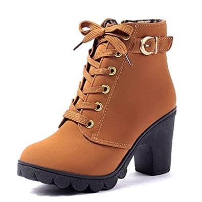 2017 Casual Shoes Chunky Heel Short Boots High Heel Side Zipper Martin Boots Thick soled Shoes