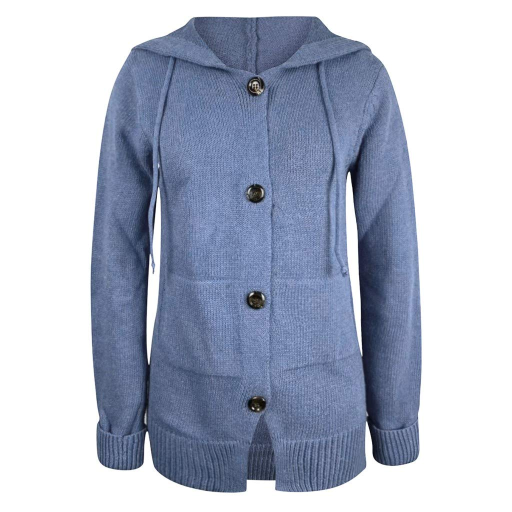 Womens Long Sleeve Loose Hooded Coat Button Cable Knit