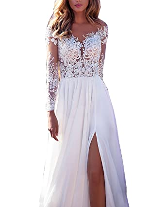 Nicefashion Scoop Long Lace Sleeves Chiffon Sheer Back Boho Beach
