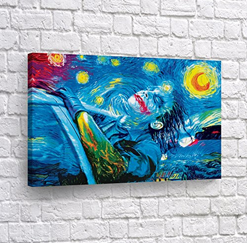 Joker Oil Painting Van Gogh Starry Night Canvas Print Wall Art Decorative Home Decor Poster Artwork Framed and Stretched- Ready to Hang -%100 Handmade in The USA - 24x36]()