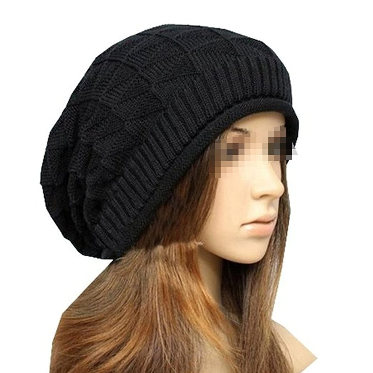Butterme Fashion Frauen Mädchen Triangle Slouchy Long Beanie Winter warme Cable Stricken gehäkelt Wolle Beret Baggy Beanie Mützen Ski Snowboard Ribbed Hat
