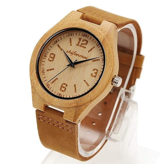 HWCOO Hermosos Relojes De Madera SHIFENMEI Bamboo Watch Wood Color Belt Reloj de Cuarzo para Hombre (Color : 1): Amazon.es: Relojes
