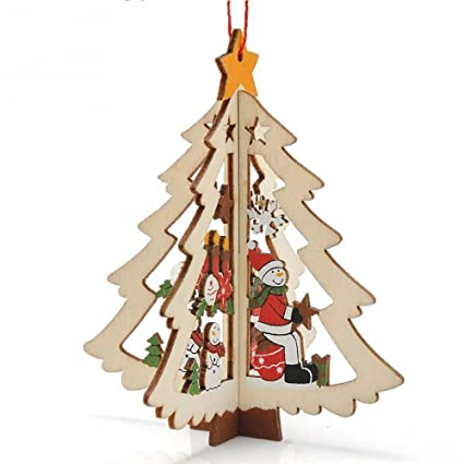 Decoración pelota pelota Árbol Navidad Madera 3d Christmas Tree muñecos de nieve