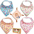 Baby Bandana Bib Drool Gift Set by TamTchu: Drooling Teething or Feeding 100% Cotton with Fleece Back Floral Bibs for Girls plus Small Giraffe Toy Blanky