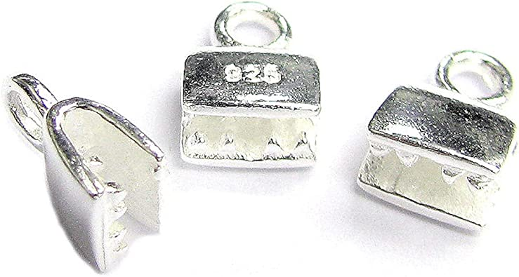 5 Pieces Ribbon Cord End Crimp Caps 925 Silver Material Handmade Findings