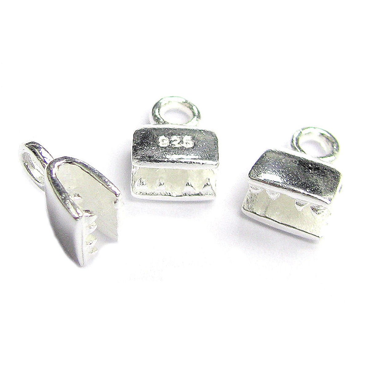 4 pcs .925 Sterling Silver Leather Ribbon Clip Cord End Crimp Cap/Findings/Bright Dreambell SX142WX4
