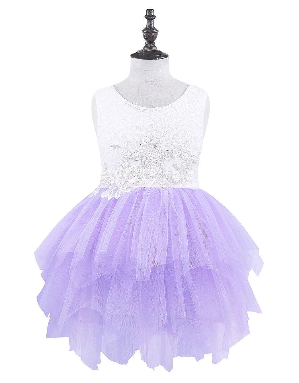 Cotrio Lace Flower Princess Dress Baby Girls Sleeveless Birthday Wedding Pageant Tutu Dress