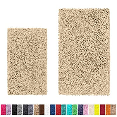 LuxUrux Bathroom Rug Set–Extra-Soft Plush Bath mat Shower Bathroom Rugs,1'' Chenille Microfiber Material, Super Absorbent (Rectangular Set, Cream) - EXTRA SOFT 2-PIECE BATH RUG MAT SET: Cushion those cold bathrooms tiles with LuxUrux's luxuriously soft 1'' high after-bath mat rug set. Our mat is designed to fit in front of your commode or sink measuring 16'' x 24'', and the other one is a versatile rectangle 20''x 30'' SUPER ABSORBENT AND FAST DRYING MATERIAL: The mats are made of thousands of individual microfiber High-pile, thick Chenille fabric helps save your floors from dripping water while you're stepping out of the Shower, Jacuzzi, Bath, or getting ready by the sink. Moisture is trapped in the mat's 1'' deep pile, allowing the rug to dry quickly and cleanly leaving the mat fresh, dry and always free of any mold or mildew. !CAUTION: Place mat on DRY FLAT SURFACE only. Water under rug can cause it to slip. Always Keep bottom of rug dry - bathroom-linens, bathroom, bath-mats - 61jx2N0flGL. SS400  -