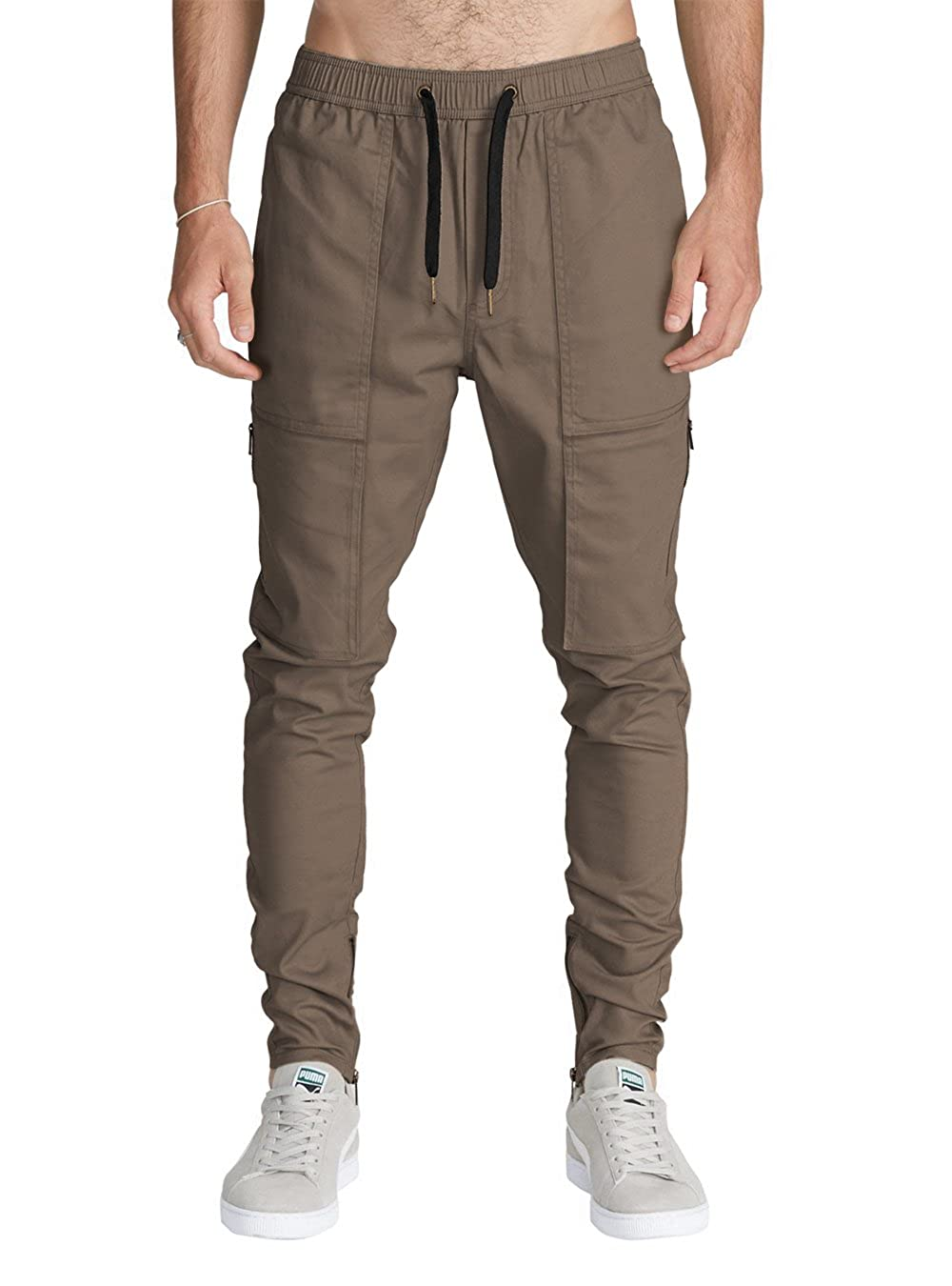 ITALY MORN Men's Chino Cargo Pants Slim Fit Ankle Zipper 17CIT001