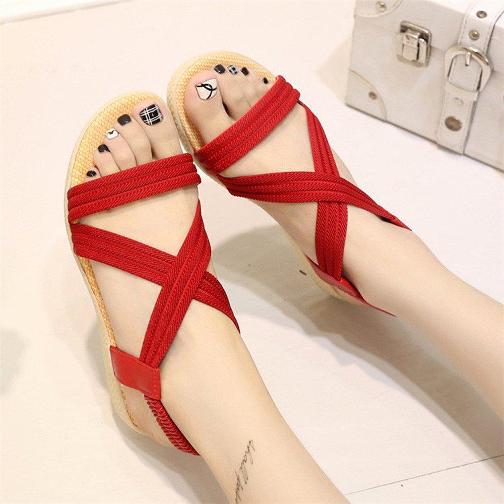 MILIMIEYIK Slip-On Sandals for Women US:7, Beige Cross Strap Flat Low Bottom Flip Flop Shoes Beach Bandage Bohemia Slippers