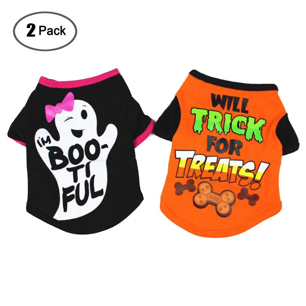 38527591165d Amazon.com : 2 Pack Dog Halloween Clothes Halloween Pet Shirt Small Dog  Clothes Pet Puppy Cat Costume Dog Apparel for Party/Halloween(S) (L) : Pet  Supplies