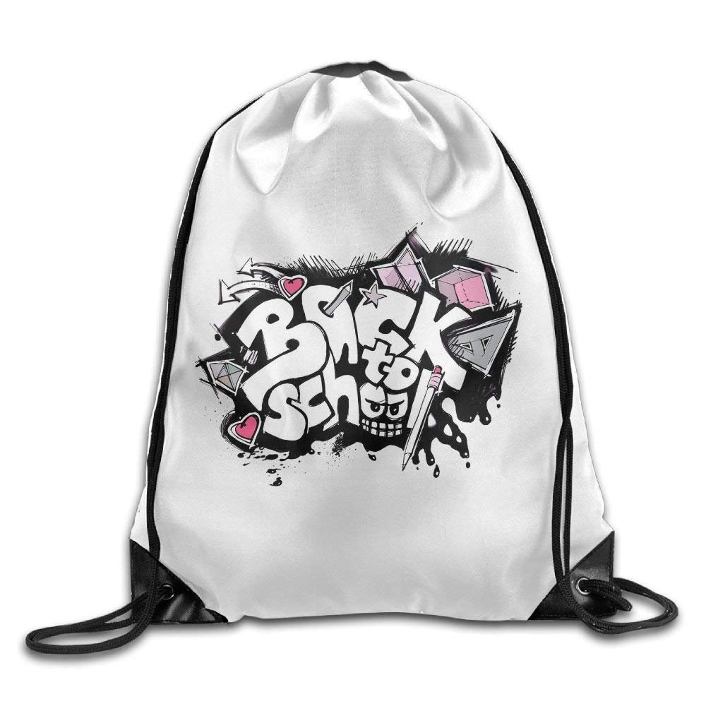 Unisex Hip Hop Back To School Basics Classic Lightweight Drawstring Gym Sack Bag Backpack For Hiking Swimming Yoga