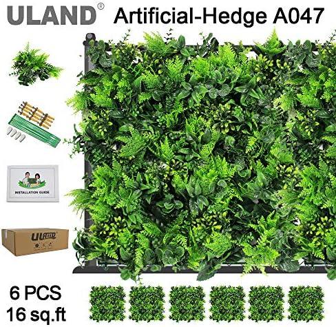 Uland Planta de setos Artificiales, Plástico Césped Falso Planta Verde Cobertura, Decoración De La Cerca Privacidad del Jardín, 6 Piezas De 20
