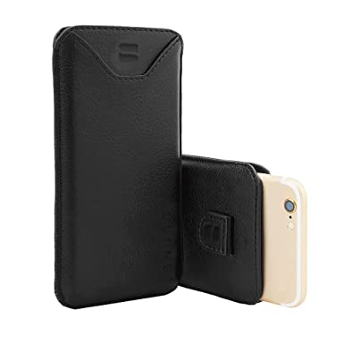 premium selection 3bd16 f2131 Snugg iPhone 7 Case, Apple iPhone 7 Black Leather Pouch Case [Card Slot]  Apple iPhone 7 Pouch Case Cover Executive Design