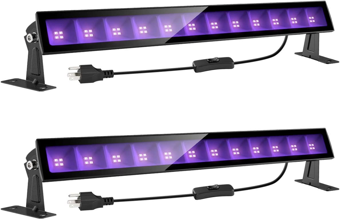Onforu 2 Pack 24W LED Black Light Bar with Plug and Switch, 5ft Power Cord, IP66 Blacklight for Glow Party, Stage Lighting, Body Paint, Fluorescent Poster, Birthday Wedding Party