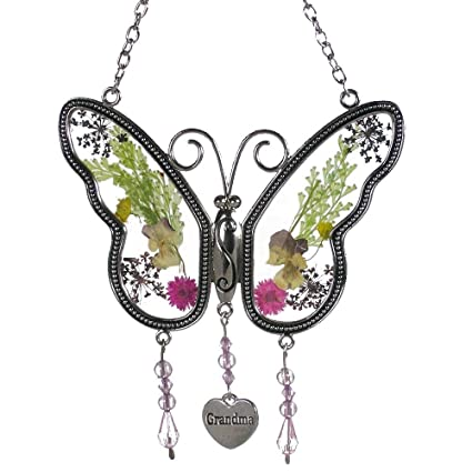 603c3fca1a2a7 KOLIN Grandma Butterfly Suncatcher Wind Chime with Pressed Flower Wings  Embedded in Glass with Metal Trim Grandma Heart Charm - Gifts for Grandma