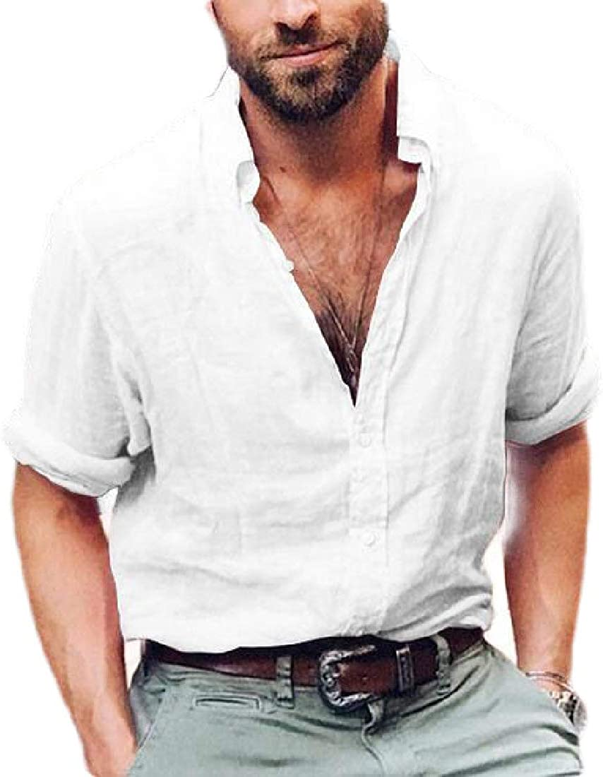 SELX Men Shirts Casual Button Up Loose Plain Long Sleeve Shirt Top