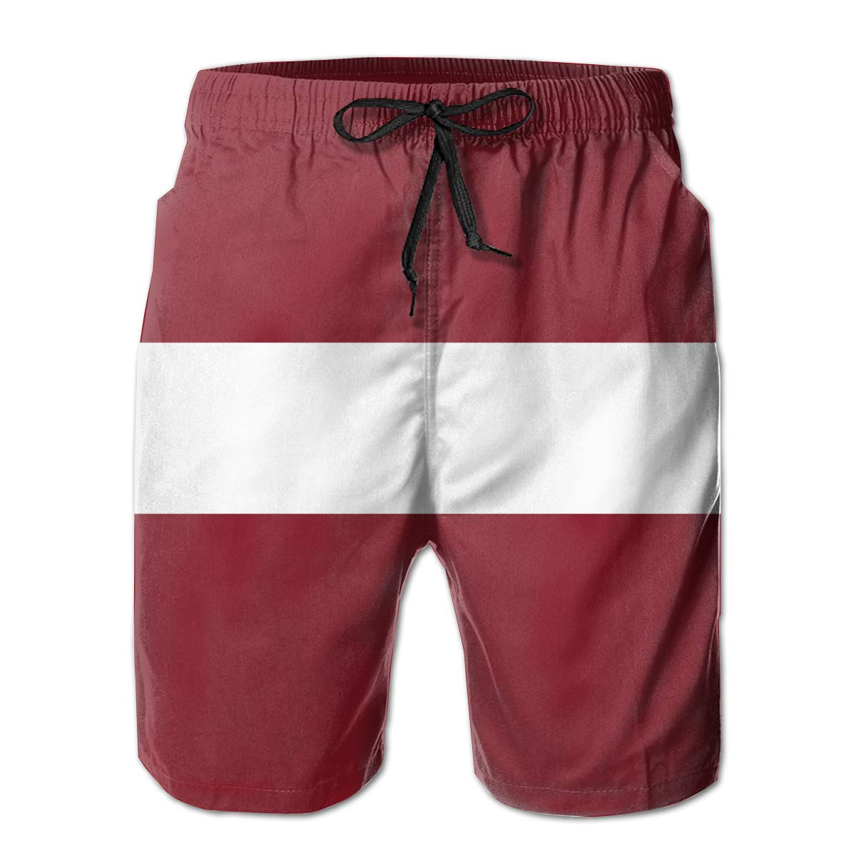 2bbbb719674 White ROLLING HOP Men's Summer Swim Trunks Latvia Flag Beach Beach Beach  Shorts for Outside Home with Pockets 947be6