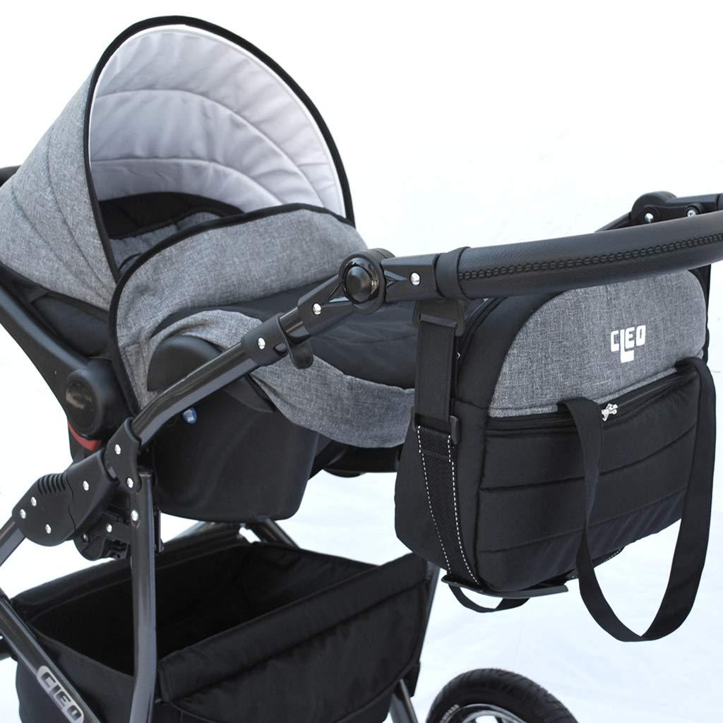 Cleo Kombi Kinderwagen 3 in 1 mit Vollgummireifen grau//schwarz