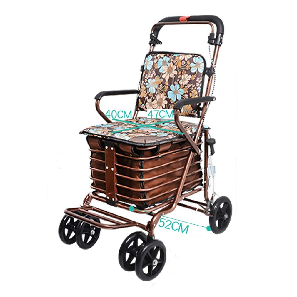 Rollator Walker with Seat Youth,with Fold Up Removable Back Support with Seat and Lower Basket Lockable Brake oO (Color : Brown)