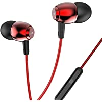 boAt BassHeads 162 with HD Sound, in-line mic, Dual Tone Secure Braided Cable & 3.5mm Angled Jack Wired Earphones (Red)