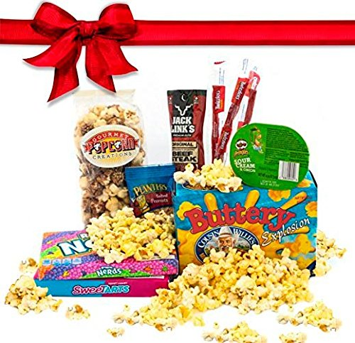 Sweet Treats Movie Night Popcorn & Candy Salty Sweet Boxed Gift Set Featuring: Root Beer Float Popped Popcorn, Cousin Willies Buttery Explosion Microwave Popcorn, Jack Links Beef Jerky, .... (Popcorn Factory Gifts Birthday)