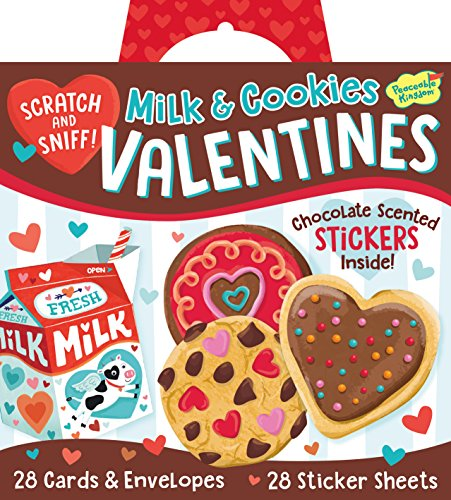 Peaceable Kingdom Milk & Cookies Scratch & Sniff Stickers 28 Card Super Valentines Pack