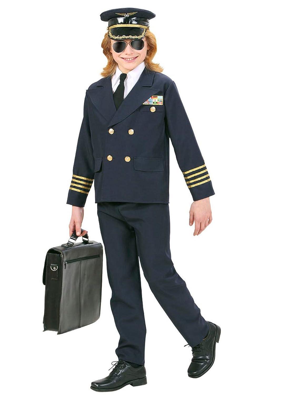 Pequeño Pilot Disfraz Para Niños Capitán Azul Oro: Amazon.es ...