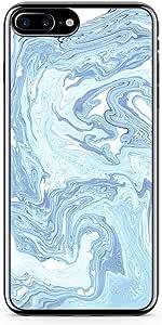 iPhone 8 Plus Transparent Edge Phone case Light Marble Liquid iPhone 8 Plus Cover with Transparent Frame
